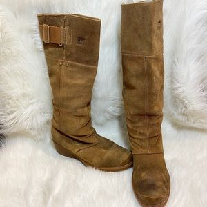 Sorrel suede tall tan boots